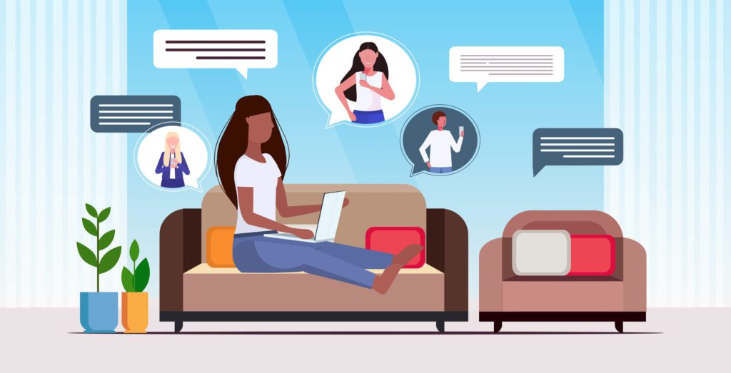 woman using laptop computer chatting app social network speech chat bubble communication concept girl sitting couch modern living room interior full length horizontal vector illustration